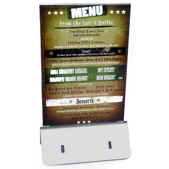 Porta menú con base de carga móviles